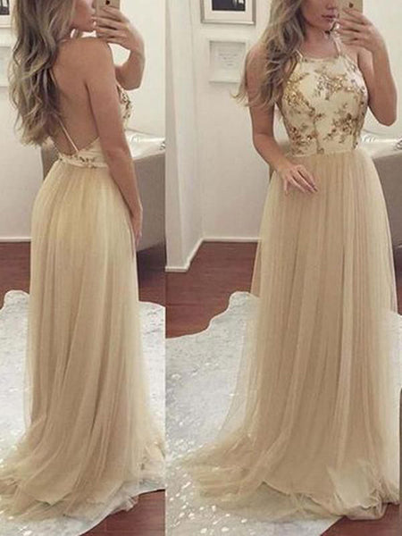 Pretty Gold Applique Halter Backless Long Evening Prom Dresses, BW0229