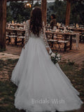 Charming Illusion Top Applique Long Sleeves Tulle Wedding Dresses, BW0639