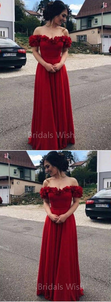 Pretty Red Off the Shoulder Applique Floor Length Evening Prom Dresses, BW0555