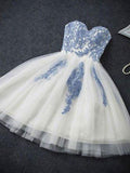 Lovely Lace Top Sweet Heart Applique Short Homecoming Dresses, BW0141