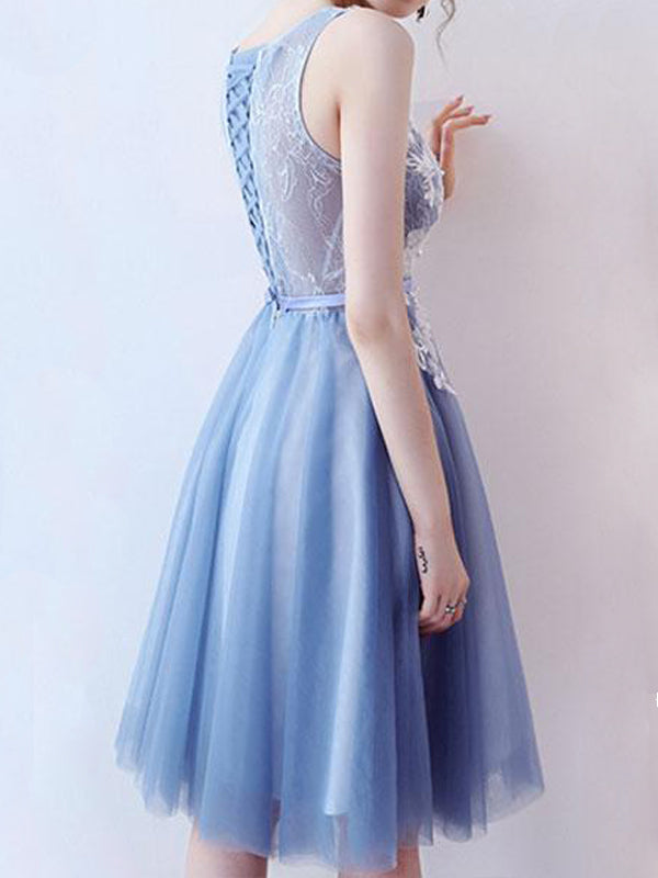 Pretty Lace Top V-Neck Blue Tulle Short Homecoming Dresses, BW0259