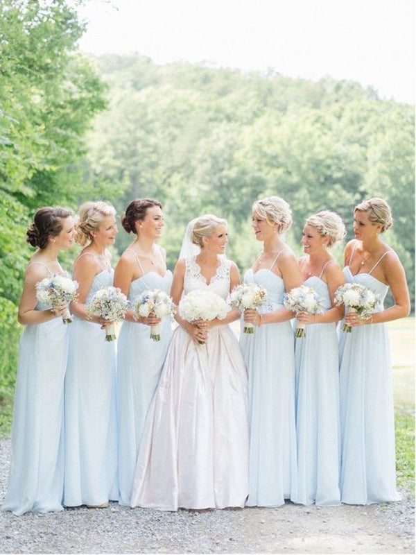 Cheap Light Blue Spaghetti Strap Sweet Heart Long Bridesmaid Dresses , BW0191