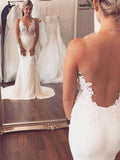 Charming Lace Top V-Neck Open Back Mermaid Wedding Dresses, BW0629