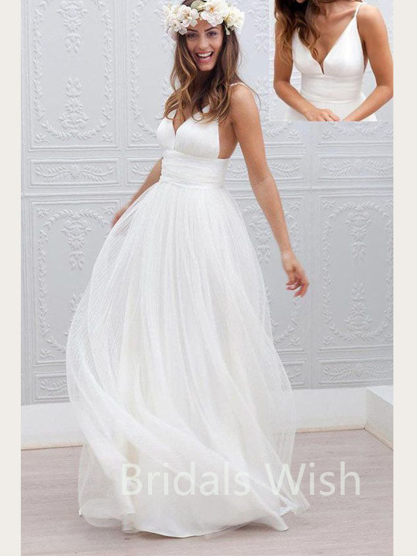 White V-neck Spaghetti Strap Tulle  Long Evening Prom Dresses, BW0084