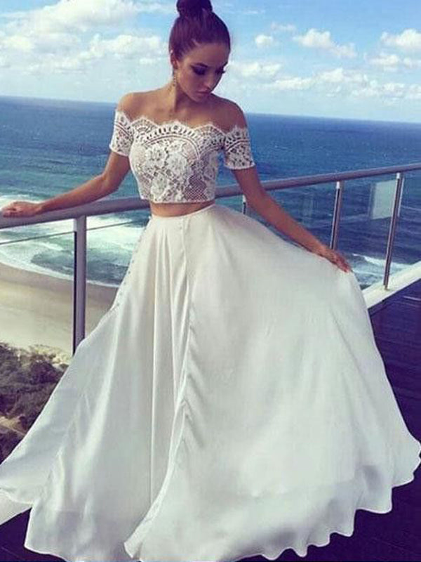 Two Pieces lace Top Off the Shoulder Long Evening Prom Dresses, BW0321