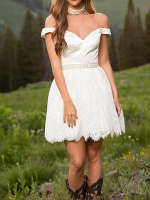 Pretty White Lace Off the Shoulder Short Homecoming Dresses, BW0359