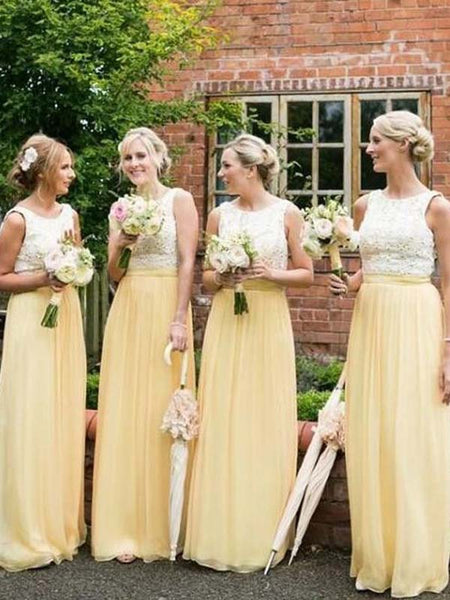 Popular Lace Top White & Yellow Sleeveless Long Bridesmaid Dresses , BW0434