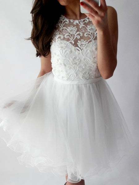 Lace Top Sleeveless White Tulle Short Homecoming Dresses, BW0215