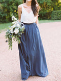 Elegant Blue & White V-Neck Long Bridesmaid Dresses , BW0392