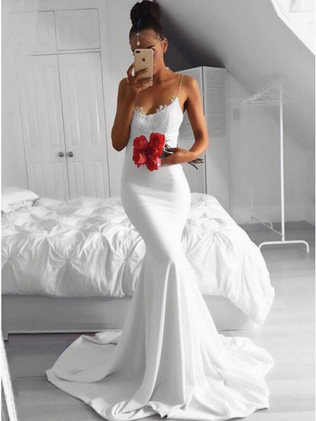 Gorgeous Applique Spaghetti Strap Mermaid Sweep Train Long Evening Prom Dresses, BW0322
