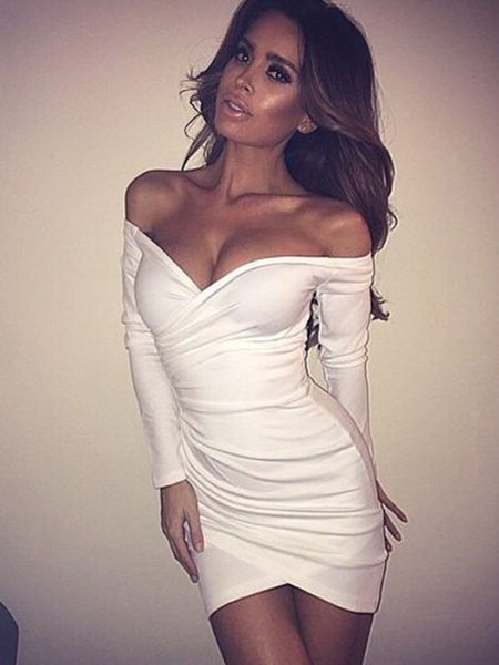 Simple White Off the Shoulder Long Sleeves Short Homecoming Dresses, BW0367