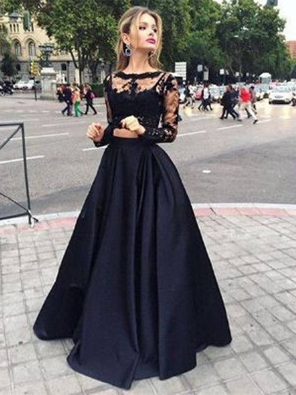 Charming Two Pieces Lace Top Long Sleeves Long Evening Prom Dresses, BW0345
