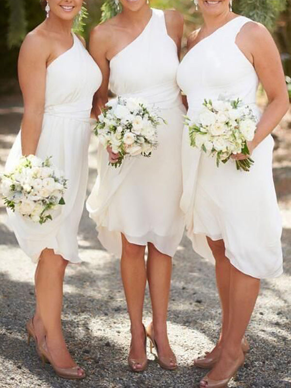 Cheap White One Shoulder Knee Length Bridesmaid Dresses , BW0507