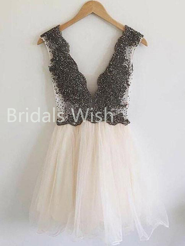 Deep V-neck Backless Heavy Beaded Top Short Homecoming Dresses, BW0047