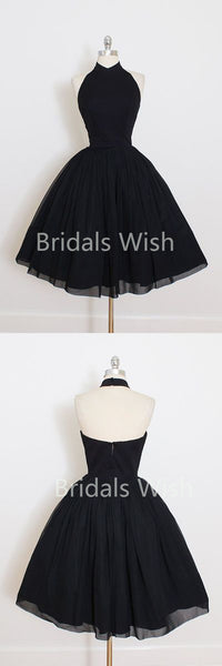 Noble Black High-neck Backless Ball Gown Short Homecoming Dresses, BW0035