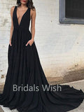 A-Line Deep V-Neck Court Train Sleeveless Backless Black Long Evening Prom Dresses, BW0076