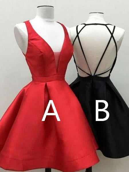 Cheap Red & Black V-Neck Backless Short Homecoming Dresses, BW0523