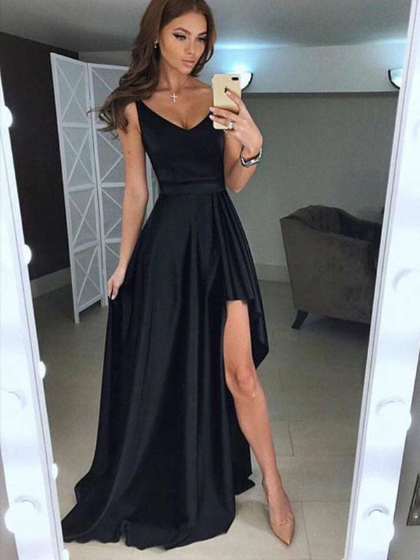 Simple Black V-Neck Sexy High-Low Long Evening Prom Dresses, BW0129