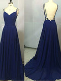 Simple Blue V-Neck Spaghetti Strap Backless Sweep Train Long Evening Prom Dresses, BW0228