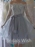 Pretty Lace Top Off the Shoulder Long Sleeves Organza Short Homecoming Dresses, BW0060