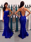 Charming Black Lace Spaghetti Strap Backless Mermaid Long Evening Prom Dresses, BW0222