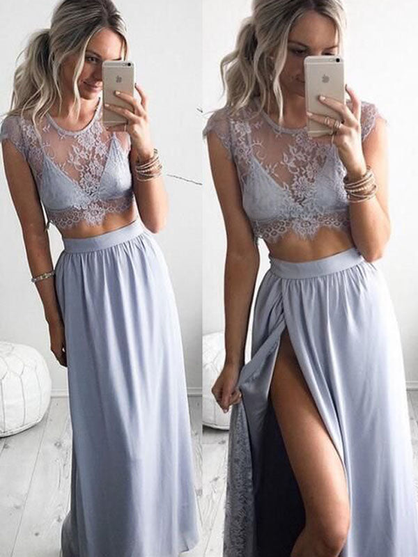 Two Pieces Lace top Light Blue Illusion Side Slit Evening Prom Dresses, BW0272