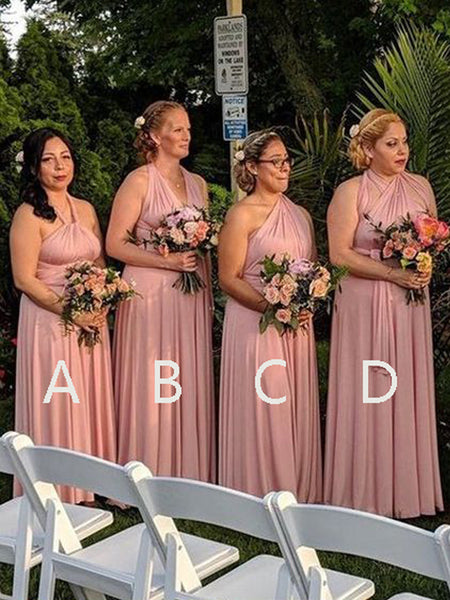 Pretty Blush Pink Halter & One Shoulder Long Bridesmaid Dresses , BW0482