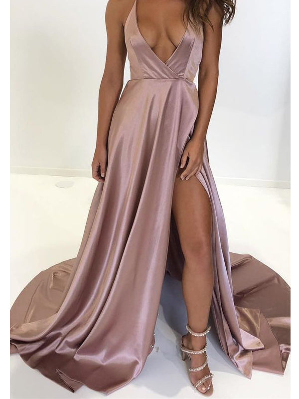 Elegant Blush Pink Halter Deep V-Neck Side Slit Sweep Train Evening Prom Dresses, BW0558