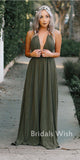 Elegant Spaghetti Strap Deep V-neck Long Bridesmaid Dress,Bridesmaid Dress  EW0177