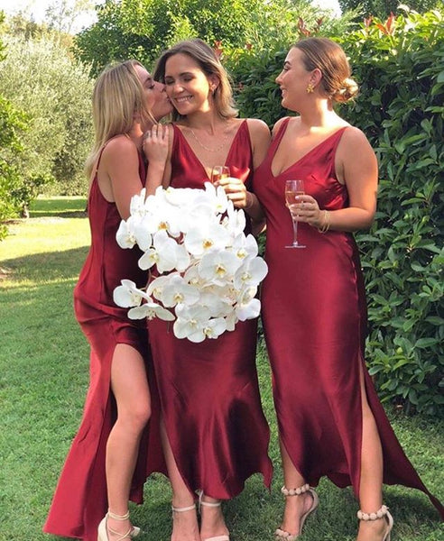 Sexy V-neck Backless Slit High-Low Bridesmaid Dresses, BW3871