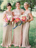 Cheap Sequin Mermaid Cap Sleeves Long Bridal Wedding Bridesmaid Dresses, BW0001
