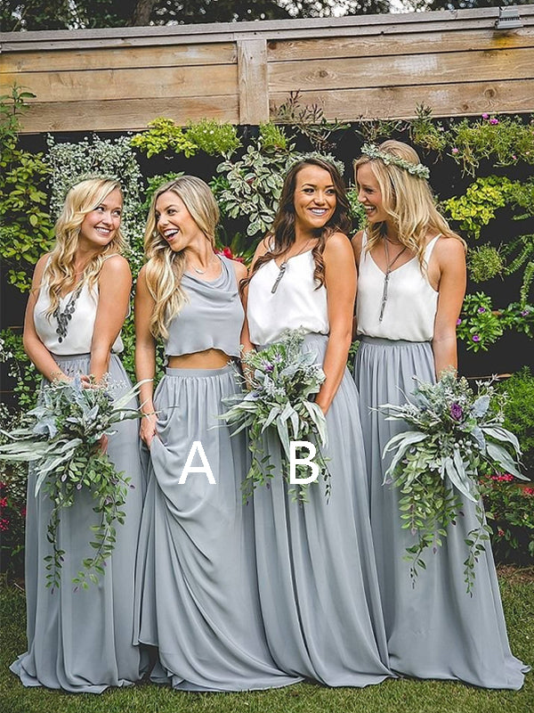 Cheap Two Pieces V-Neck Long Bridesmaid Dresses , BW0395