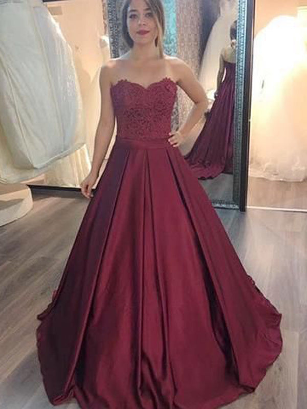 Charming Burgundy Sweet Heart Lace Top Long Evening Prom Dresses, BW0231