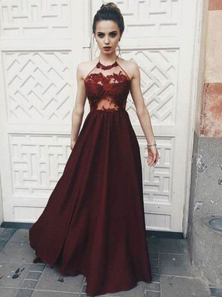 Charming Burgundy Lace Top Halter Long Evening Prom Dresses, BW0279