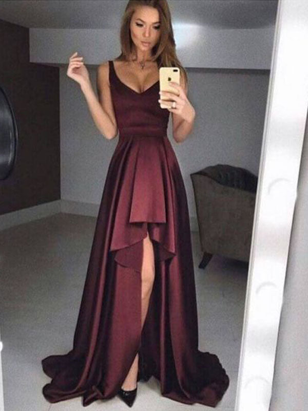 Simple Burgundy V-Neck High-Low Long Evening Prom Dresses, BW0130
