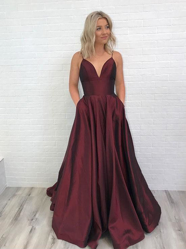 Affordable Burgundy Spaghetti Strap V-Neck Open Back Floor Length Evening Prom Dresses,, BW0562