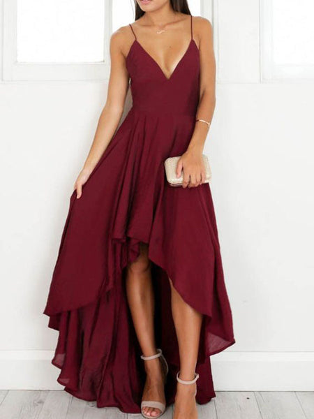 Burgundy V-Neck Spaghetti Strap High-Low Long Evening Prom Dresses, BW0120