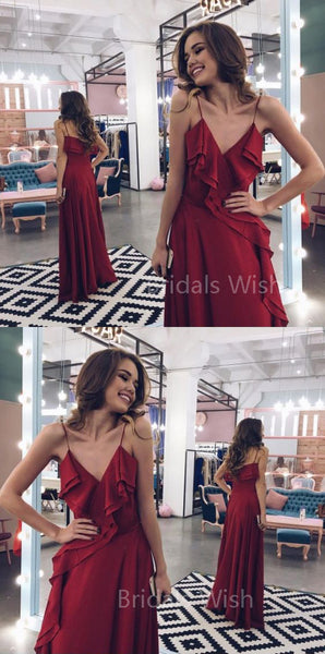 Pretty A-Line Burgundy Spaghetti Strap V-Neck Floor Length Evening Prom Dresses, BW0572