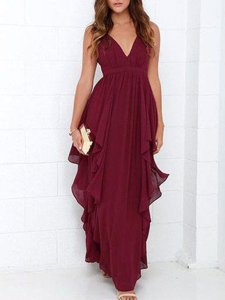 Burgundy deep v-neck backless Long Evening Prom Dresses, BW0618