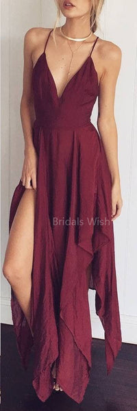 Burgundy Spaghetti Strap V-Neck Side Slit High-Low Long Evening Prom Dresses, BW0330