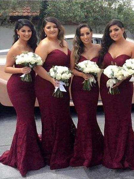 Pretty Burgundy Lace Sweet Heart Mermaid Sweep Train Bridesmaid Dresses , BW0472