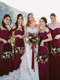 Charming Burgundy Off the Shoulder Spaghetti Strap Sweet Heart Long Bridesmaid Dresses , BW0375