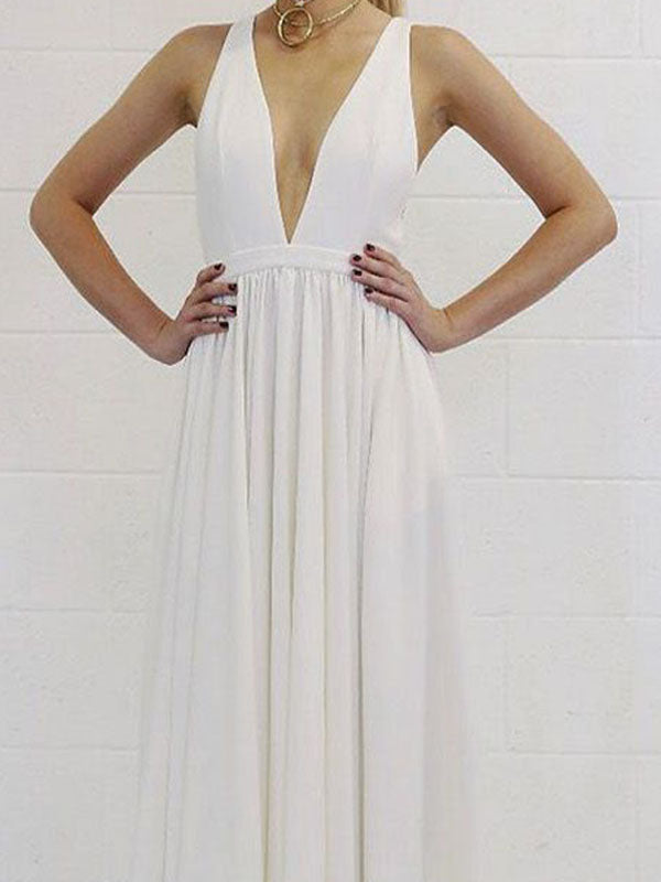 Chic White Deep V-Neck Backless Floor Length Evening Prom Dresses, BW0542