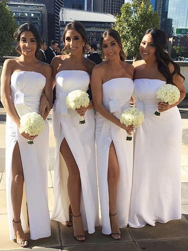 Simple White Straight Side Slit Long Bridesmaid Dresses , BW0502