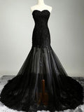 Unique Black Lace Applique Tulle Sweet Heart Court Train Long Evening Prom Dresses, BW0326