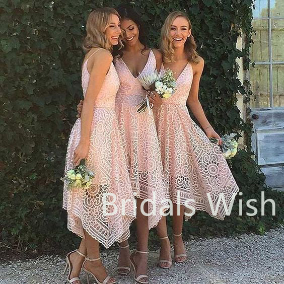 Cheap Lace Pink High-low V-neck Short Bridesmaid Dresses, BW0006