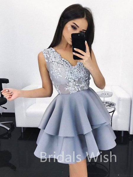 Cheap Lace Top V-neck Satin Short Homecoming Dresses, BW0090