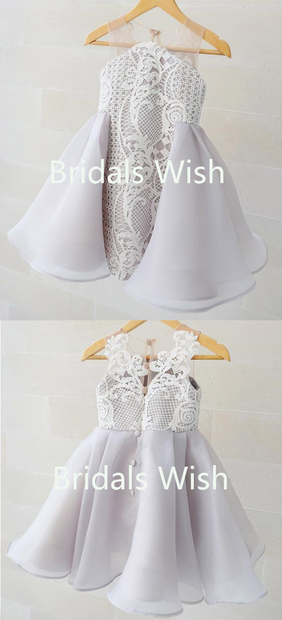 Lovely Illusion Knee Length Button up back Lace Flower Girl Dresses , BW0023
