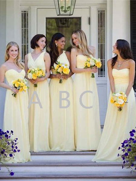 Mismatched Light Yellow Sweet Heart & V-Neck & One Shoulder Long Bridesmaid Dresses , BW0432