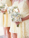 Beautiful Light Yellow Lace One Shoulder Short Bridesmaid Dresses , BW0435